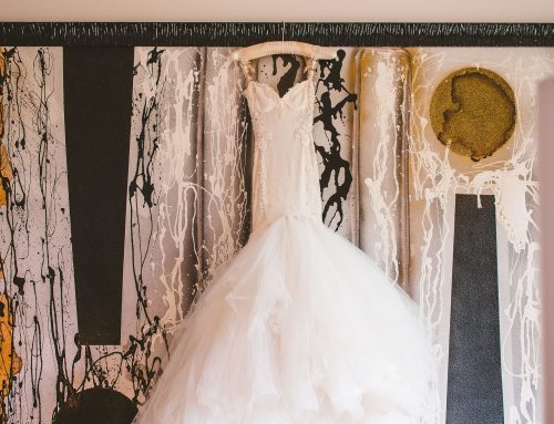What is behind a wedding dress?